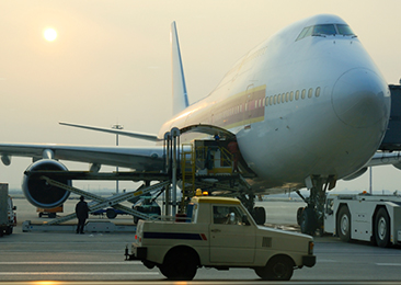Airplane loaded with freight cargo