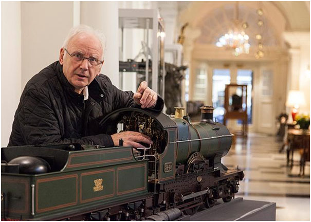 Pete Water,man with a steam train from his collection