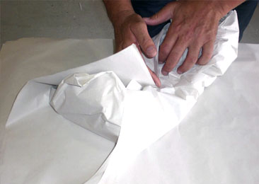 wrapping delicate item in tissue paper